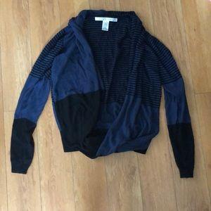 MAX STUDIO Blue & Black Striped Wrap Sweater M